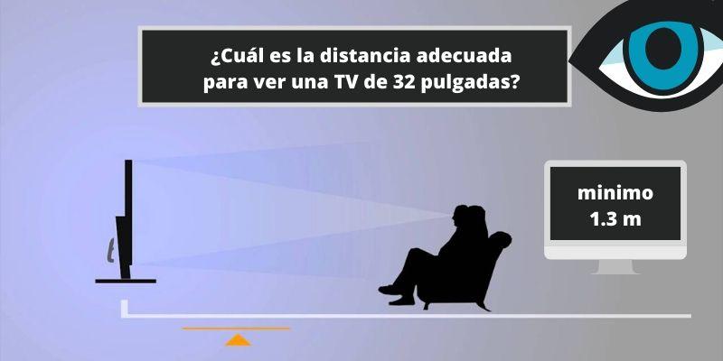 Cuál es la distancia adecuada para ver una TV de 32 pulgadas
